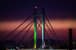 Beautiful image of bridge silhouette at midnight Stock Photos