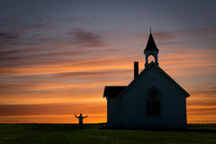 Beautiful image of a church silhouette against beautiful sunset. Royalty Free Stock Images
