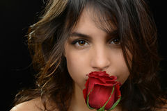 Woman and Rose Royalty Free Stock Images