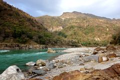 Turquoise Blue Ganges River stock photo