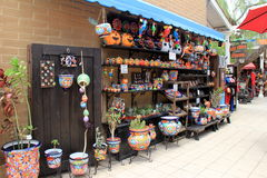 Beautiful image of wall with bright and colorful wares for sale, Old Town, San Diego, California, 2016. Royalty Free Stock Images