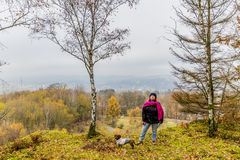 Beautiful image of a woman walking with her dog on the hill Bec du Corbeau royalty free stock photo