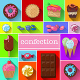 Beautiful images of a variety of sweets. Delicious desserts, vector images, lots of different items. Royalty Free Stock Images