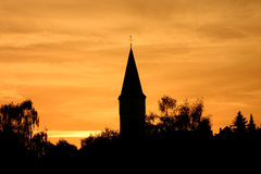 Beautiful impression. Silhouette of a church at night royalty free stock image