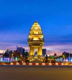 Independence Monument in downtown Phnom Penh. Beautiful Independence Monument erected in downtown Phnom Penh, capital of Cambodia Royalty Free Stock Image