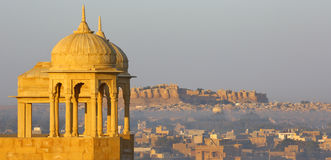 Beautiful India, panorama of Jaisalmer castle, Rajasthan. Jaisalmer, like other cities in Rajasthan, has the palace/castle of Maharaja on a hilltop dominating royalty free stock images