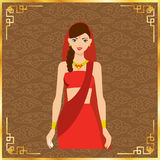 Beautiful India women long hair With red dress design Stock Image