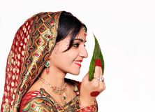 Beautiful Indian bride. Side-pose of an Indian Bride Royalty Free Stock Image