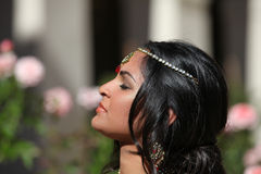 Beautiful Indian Bride. In Cathedral Hallway on her wedding day Stock Photo