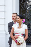 Beautiful indian bride and caucasian groom, after wedding ceremo. Ny Stock Image