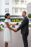 Beautiful indian bride and caucasian groom, after wedding ceremo Stock Images