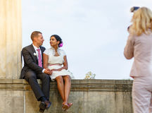 Beautiful indian bride and caucasian groom after wedding ceremon. Beautiful indian bride and caucasian groom,  after wedding ceremony. Happy couple in love Stock Photography