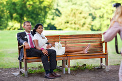 Beautiful indian bride and caucasian groom after wedding ceremon. Beautiful indian bride and caucasian groom,  after wedding ceremony. Happy couple in love Royalty Free Stock Photos