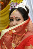 A beautiful indian bride. Ready to her marriage ceremony. She enjoying special moments Royalty Free Stock Photos
