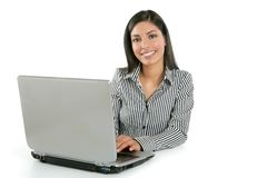 Beautiful Indian Brunette Businesswoman Laptop Stock Image
