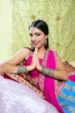 Beautiful indian brunette woman portrait stock photography