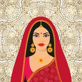 Beautiful Indian brunette young woman in colorful sari. Vector illustration Beautiful Indian brunette young woman in colorful sari Stock Photography