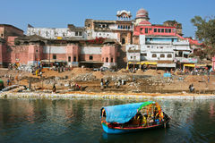 Beautiful indian city with old brick houses Royalty Free Stock Photography