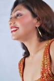 Beautiful Indian Fashion Model. Portrait of beautiful Indian fashion model with make up and smile Stock Photo