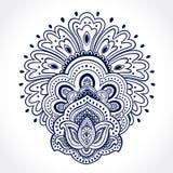 Beautiful Indian floral ornament. Ethnic Mandala. Henna tattoo s Stock Images