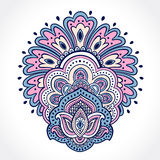 Beautiful Indian floral ornament. Ethnic Mandala. Henna tattoo s Stock Photography