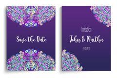 Beautiful Indian floral ornament for wedding invitation. Save th. E date card design. Colorful template. Ornamental, oriental pattern. Vector illustration Royalty Free Stock Photo
