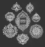 Beautiful Indian floral ornaments on chalkboard. Royalty Free Stock Photography