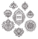 Beautiful Indian floral ornaments. Set of Ornamental Boho Style flowers and elements. Vector illustration Royalty Free Stock Photo