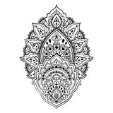 Beautiful Indian floral paisley ornament. Ethnic Lotus. Henna ta Royalty Free Stock Photos