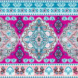 Beautiful Indian floral paisley seamless ornament print. Ethnic. Mandala towel. Vector Henna tattoo style. Can be used for textile, greeting business card Stock Photography