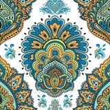 Beautiful Indian floral seamless ornament. Ethnic Mandala. Henna Stock Images