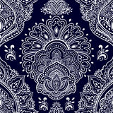 Beautiful Indian floral seamless ornament. Ethnic Mandala. Henna Royalty Free Stock Images