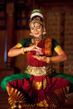 Beautiful Indian girl dancing classical traditional Indian dance Royalty Free Stock Photo