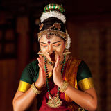 Beautiful Indian girl dancing classical traditional Indian dance Royalty Free Stock Photo