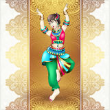 Beautiful indian girl dancing. On gold floral mandala background, vector illustration Stock Photography