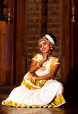 Beautiful Indian girl dancing Mohinyattam dance in Fort Cochin, Royalty Free Stock Photography