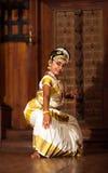 Beautiful Indian girl dancing Mohinyattam dance in Fort Cochin, Royalty Free Stock Images