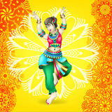 Beautiful indian girl dancing. On yellow floral mandala background, vector illustration Royalty Free Stock Photo