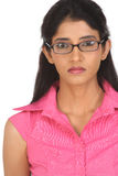 Beautiful indian girl with glasses stock image