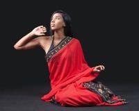 Beautiful Indian girl in red sari Stock Photo