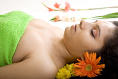 A beautiful Indian girl in spa Stock Photography