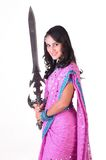 Beautiful indian girl with the sword Stock Photo