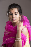 Beautiful Indian girl in traditional Indian sari Stock Photography
