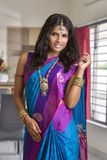 Beautiful Indian girl in traditional Indian sari. Royalty Free Stock Images