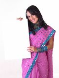 Beautiful indian girl with white board Royalty Free Stock Image