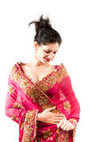 Beautiful Indian happy  woman in pink sari Stock Photography