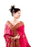Beautiful Indian happy woman in pink sari Royalty Free Stock Images