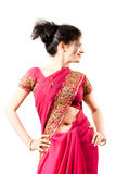 Beautiful Indian happy  woman in pink sari Royalty Free Stock Photos