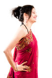 Beautiful Indian happy  woman in pink sari Stock Photos