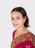 Beautiful Indian happy  woman in pink sari Stock Photos